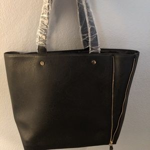 Black Neiman Marcus faux leather tote